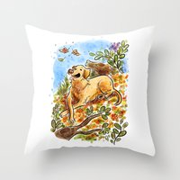 lab Throw Pillows featuring Golden Lab by Renee Kurilla