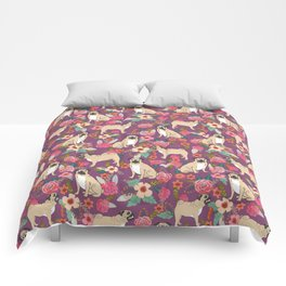 Pug dog breed floral must have cute pugs pure breed pet gifts Comforters