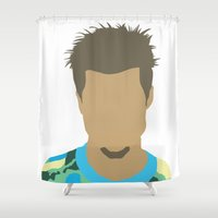tyler durden Shower Curtains featuring Tyler Durden Fight Club by Rosaura Grant