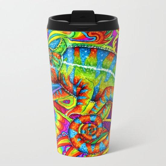 Psychedelizard Psychedelic Chameleon Metal Travel Mug