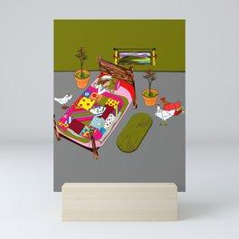 A Farm Girl Sleeps and Her Lady Chickens Play Mini Art Print