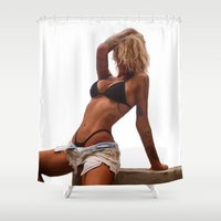 tina crespo Shower Curtains featuring Tina by Nick Bizzack Designs