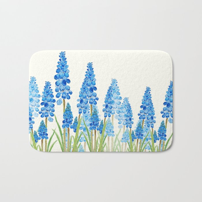 blue grape  hyacinth forest Bath Mat