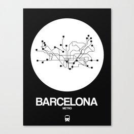 Barcelona White Subway Map Canvas Print