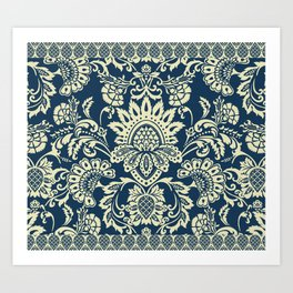 damask in white and blue vintage Art Print