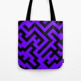 Black and Indigo Violet Diagonal Labyrinth Tote Bag