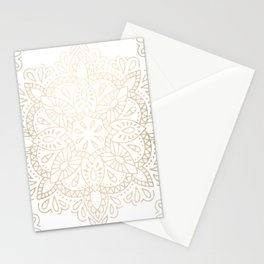 Mandala White Gold Shimmer by Nature Magick Stationery Cards