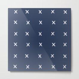 Xs on Navy Metal Print