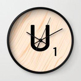 Scrabble Letter U - Large Scrabble Tiles Wall Clock