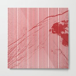 Red stripes on grunge pink background Metal Print