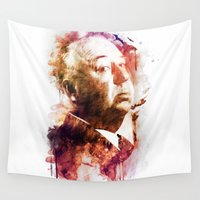 hitchcock Wall Tapestries featuring ALFRED HITCHCOCK by Elizabeth Cakovan