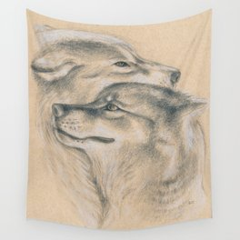 Wild Souls Snuggling Wolves Drawing Wall Tapestry