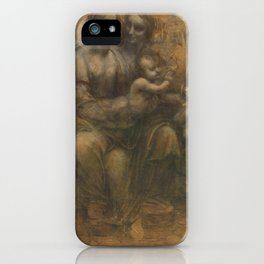 The Virgin and Child with St Anne and St John the Baptist by Leonardo da Vinci iPhone Case