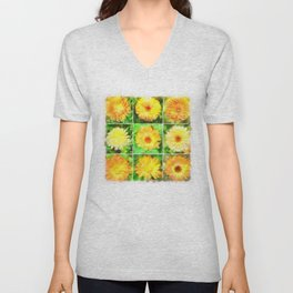 Watercolour Collage of Yellow And Orange Marigolds Unisex V-Neck