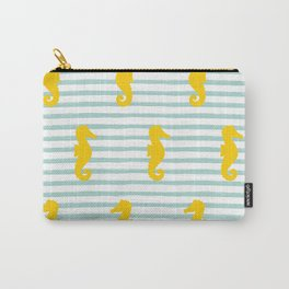 Seahorse & Stripes Pattern - Yellow / Mint Carry-All Pouch