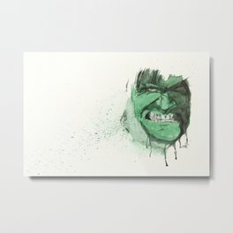 Hulk - Watercolor Splatter Artwork Metal Print