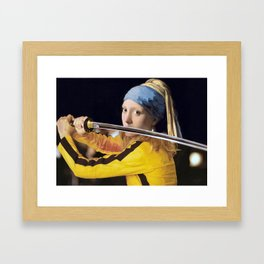 Beatrix Kiddo and Vermeer's Girl with a Pearl Earring Framed Art Print