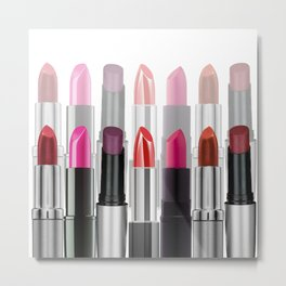 Lipstick Tubes Makeup Make Up Cosmetics Metal Print