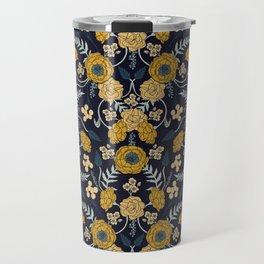 Navy Blue, Turquoise, Cream & Mustard Yellow Dark Floral Pattern Travel Mug