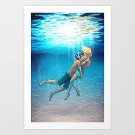 Percy Jackson - Percabeth - Underwater Kiss Art Print