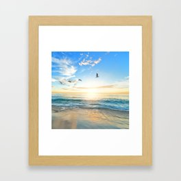 Blue Sky with Birds Framed Art Print