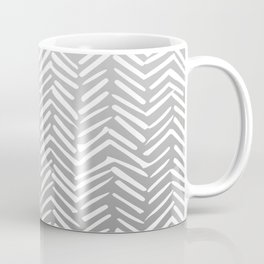 Geometric Art, Herringbone, Mudcloth, Gray and White, Boho Art Coffee Mug