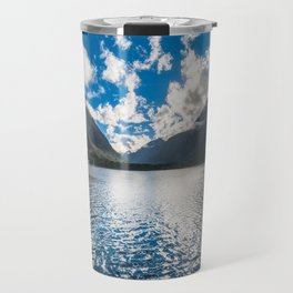 Dramatic clouds in the morning at Milford Sound Travel Mug