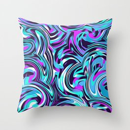 psychedelic spiral painting abstract pattern in blue pink and black Throw Pillow