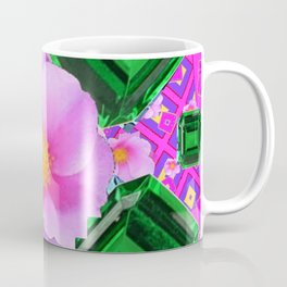May Green Emerald Gems & Pink Roses Fuchsia Art Coffee Mug