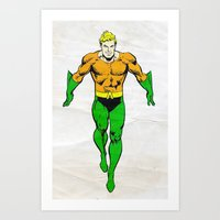 aquaman Art Prints featuring Aquaman by Popp Art