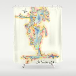 Go Home Lake - Coloured Map Shower Curtain
