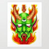 Third Eye Fire Demon Art Print