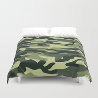 military Duvet Covers featuring Green Military Camouflage Pattern by SW Creation