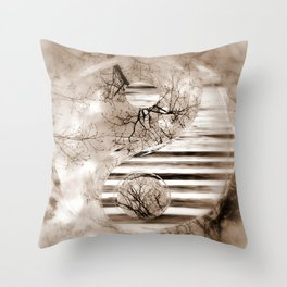 Yin Yang softness and sepia Throw Pillow