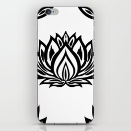 Black and White Lotus Pattern iPhone Skin