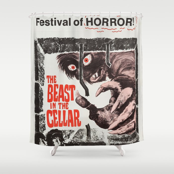 The Beast In Cellar Vintage Horror Movie Poster Shower Curtain
