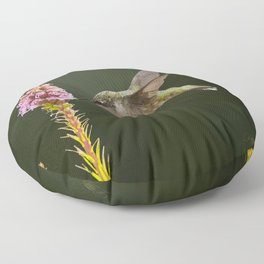 Hummingbird and flower II Floor Pillow