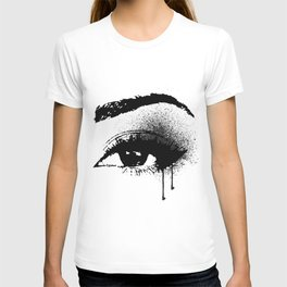 Black and White Eye makeup with paint drips T-shirt