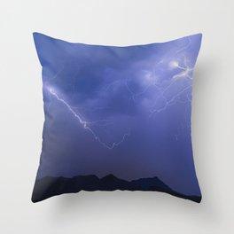 Arizona Mountain Lightning Storm Throw Pillow