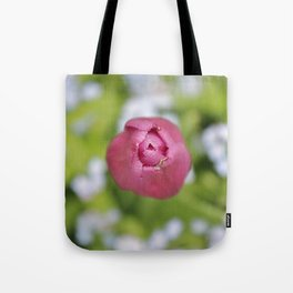 Pink tulip and forget-me-not Tote Bag