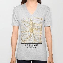 PORTLAND OREGON CITY STREET MAP ART Unisex V-Neck