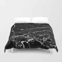 geology Duvet Covers featuring Black Marble by Santo Sagese