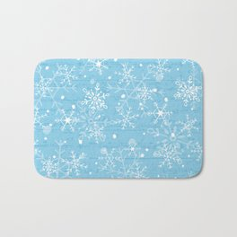 Snowflakes on Blue Wood Bath Mat