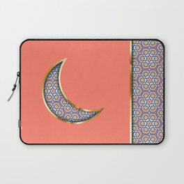 Patterned crescent on living coral pink Laptop Sleeve