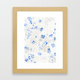 blue abstract hydrangea pattern Framed Art Print