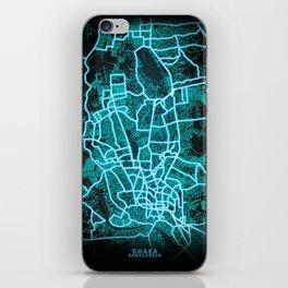 Dhaka, Bangladesh, Blue, White, Neon, Glow, City, Map iPhone Skin