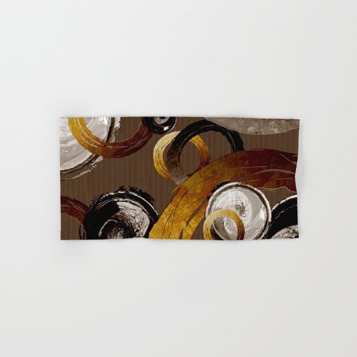 Big Dark Brass Yellow and Brown Rings and Circles Hand & Bath Towel