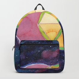 Perfect Hexagon Sacred Geometry Abstract Watercolor  Backpack