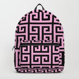 Greek Key (Black & Pink Pattern) Backpack