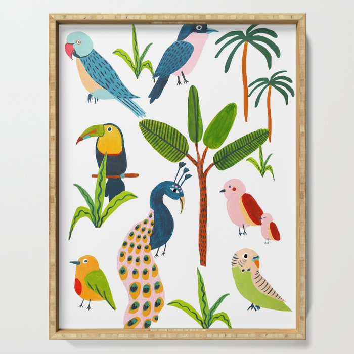 Jungle Birds Species Serving Tray